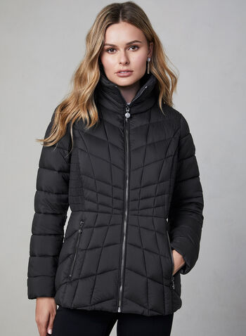 Bernardo - Quilted Packable Coat, Black, hi-res,  Bernardo, packable, coat, EcoPlume, water resistant, quilted, fall 2019, winter 2019