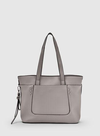 Studded Tote Bag, Grey, hi-res