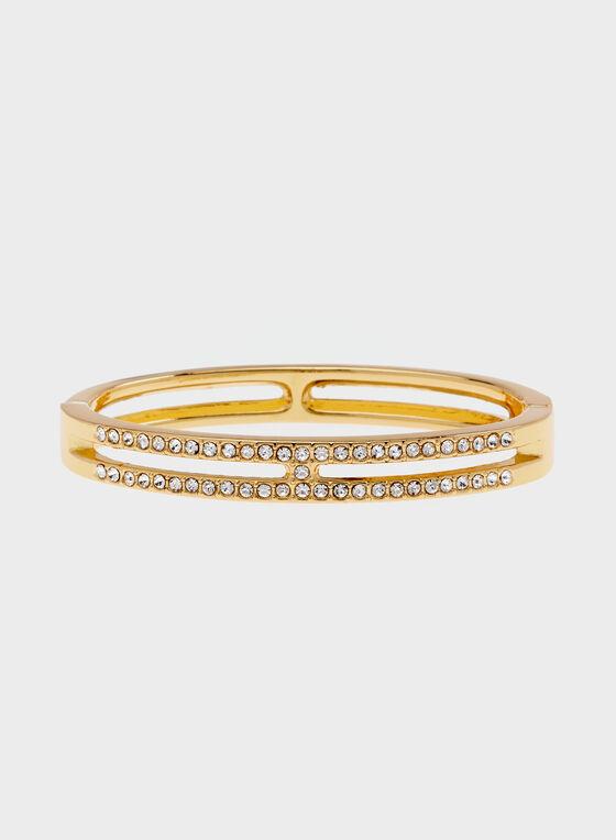 Bracelet fin et rigide avec double rang de cristaux, Or, hi-res