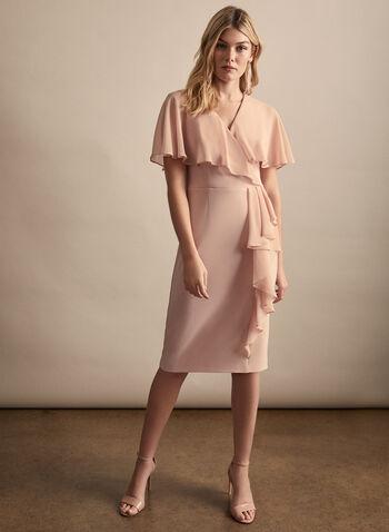 Joseph Ribkoff - Cape Detail Sheath Dress, Pink,  spring summer 2020, cape details, sheath, ruffle trim