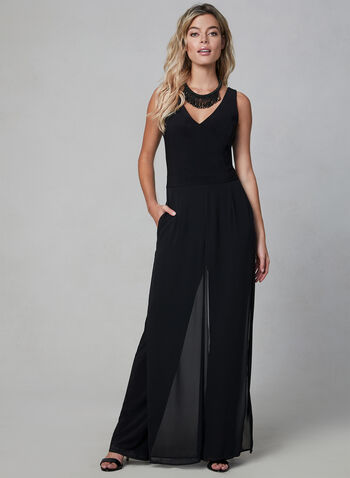 Sleeveless Chiffon Panel Overlay Jumpsuit, Black, hi-res,  maxi, day dress, chiffon floral print, ruffles, off-the-shoulder, spring 2019