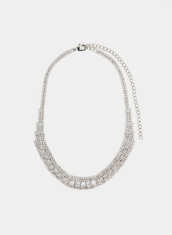 Multi-Layered Crystal Necklace , Silver,  necklace, adjustable, multi-strand, crystal, fall winter 2019