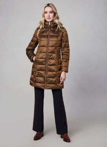 Novelti - Long Down Coat, Brown,  fall winter 2019, faux down, nylon, long sleeves, zipper, hood