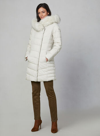Bernardo - Quilted Faux Fur Coat, Off White,  coat, quilted, hood, faux fur, long sleeves, fall 2019, winter 2019