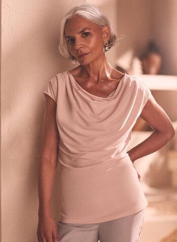 Drape Neck Zipper Detail Top, Pink,  top, drape neck, short sleeves, zipper detail, satin, spring summer 2021