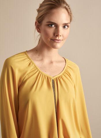 Frank Lyman - Crystal Detail Blouse, Gold,  Canada, Frank Lyman, blouse, crystals, long sleeves, balloon sleeves, spring 2020, summer 2020