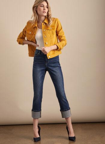 Veste en jean coloré, Jaune,  printemps été 2020, veste, jean, coloré, couleur, manches longues, boutons