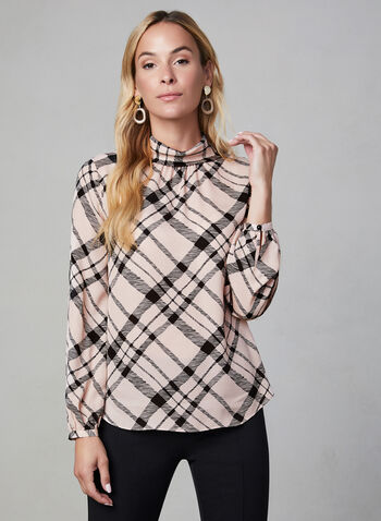 Plaid Print Blouse, Multi,  mock neck, long sleeves, fall 2019, winter 2019