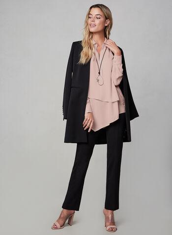 Asymmetric Chiffon Top, Multi, hi-res,  fall 2019, winter 2019, notch collar, blouse, long sleeves, chiffon, buttons