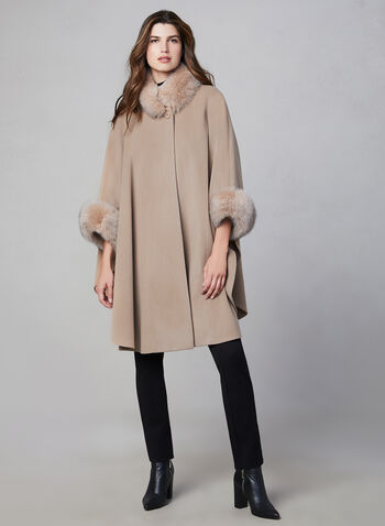 Mallia - Wool & Cashmere Blend Cape, Brown,  fall winter 2019, wool, cashmere, fox fur, outerwear, jacket, poncho