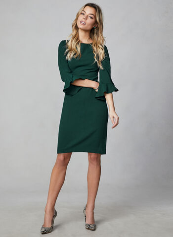 Karl Lagerfeld Paris - Tulip Sleeve Dress, Green,  karl lagerfeld, day dress, tulp sleeves, mid length, straight fit, boat neck, fall 2019, winter 2019