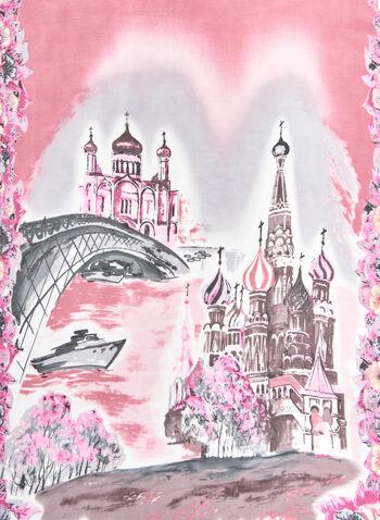 Landscape Print Scarf, Pink, hi-res