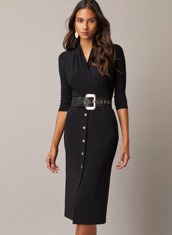 Joseph Ribkoff - Button Skirt Belted Dress, Black,  day dress, belt, crossover, button skirt, fall winter 2020