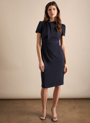 Maggy London - Short Sleeve Bow Detail Dress, Blue,