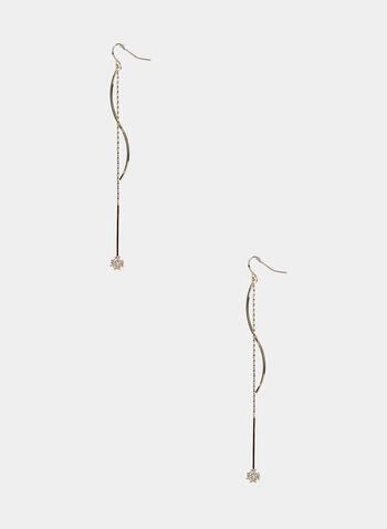 Boucles d'oreilles à pendants chaînettes et cristaux, Or, hi-res