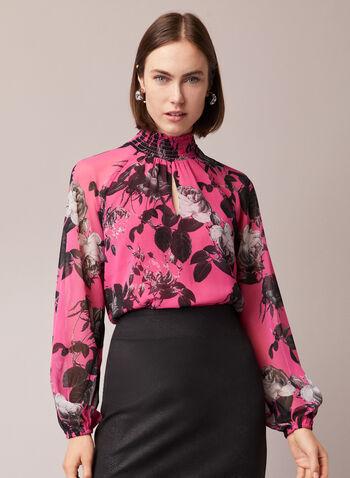 Blouse à col montant et motif floral, Multi,  blouse, manches ballon, fleurs, col montant, automne hiver 2020