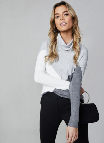 Alison Sheri - Colour Block Sweater, Grey,  Alison Sheri, sweater, knit, cowl neck, long sleeves, colour block, fall 2019, winter 2019