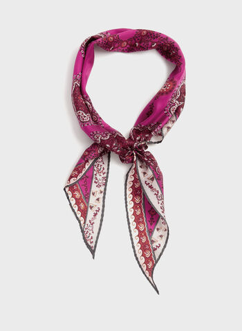 Silk Paisley Print Crystal Embellished Scarf, Red, hi-res