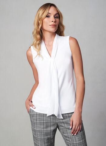 Blouse sans manches à col foulard, Blanc cassé,  blouse à volants