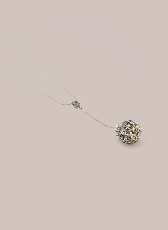 Pearl & Crystal Pendant Necklace, Gold