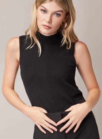 Sleeveless Mock Neck Sweater, Black,  sweater, sleeveless, rib knit, mock neck, spring summer 2020