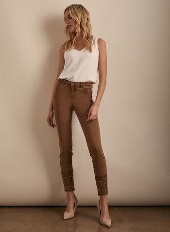 Embellished Hem Slim Leg Jeans, Brown,  jeans, denim, slim leg, mid-rise, embellished jeans, sequins, rhinestone, fringes, spring 2020, summer 2020