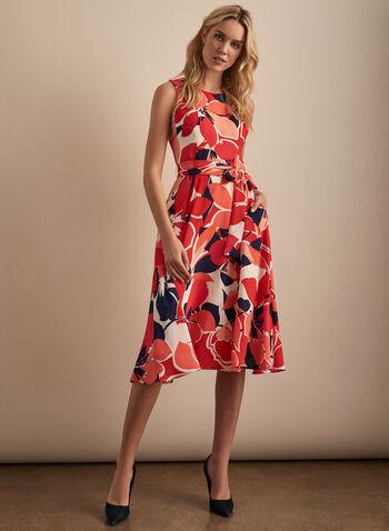 Donna Ricco - Robe sans manches motif feuilles, Rouge,  robe de jour, sans manches, feuilles, abstrait, ceinture, printemps été 2020
