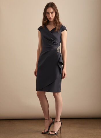 Alex Evenings - Brooch Detail Sheath Dress, Grey,  cocktail dress, crossover, wrap, sheath, brooch, pearls, rhinestones, satin, pleated, cap sleeves, spring summer 2020