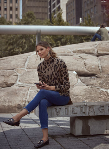 Tunique à col cheminée et motif léopard, Beige,  tunique, blouse, haut, col cheminée, manches longues, motif, imprimé, animal, léopard, fentes, automne 2021