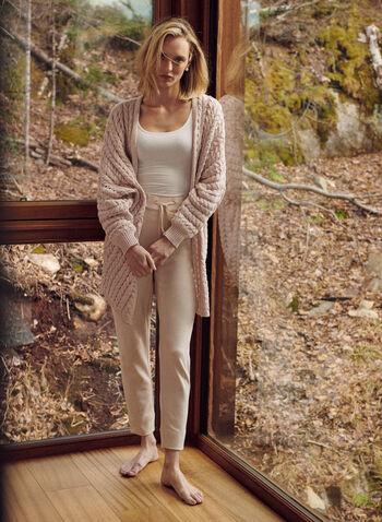 Cardigan long ouvert en tricot, Rose,  cardigan, ouvert, mailles, tricot, manches longues, bouffantes, printemps été 2021