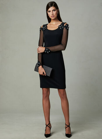 Joseph Ribkoff - Cold Shoulder Dress, Black, hi-res