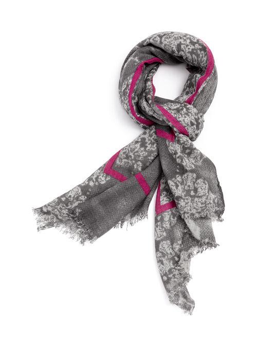 Foulard oblong à fleurs et couture contrastante, Gris, hi-res