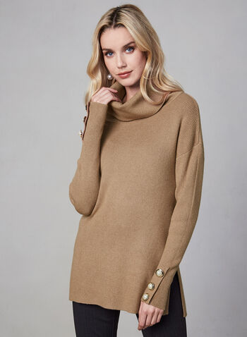 Cowl Neck Sweater, Brown,  knit, sweater, cowl neck, long sleeves, buttons, fall 2019, winter 2019