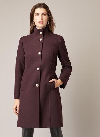 High Collar Wool Blend Coat, Purple,  coat, wool, button front, high collar, pockets, fall winter 2020