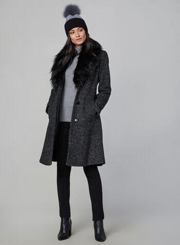 Novelti - Bouclé Wool Coat, Grey,  coat, winter coat, faux fur, faux fur coat, wool coat, buttoned coat, fall 2019, winter 2019