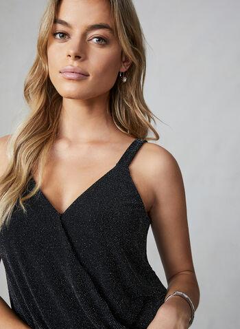 Sleeveless Metallic Knit Top, Silver,  top, sleeveless, v neck, metallic knit, fine straps, lined, fall 2019, winter 2019