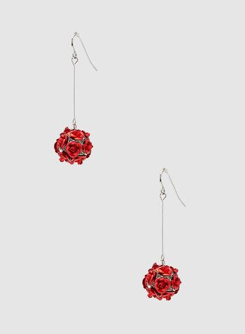Rose Dangle Earrings, Red, hi-res