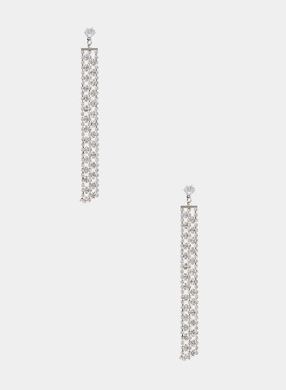 Boucles d'oreilles cascade de cristaux, Argent, hi-res