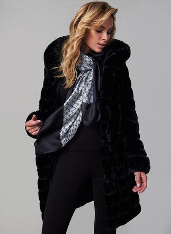 Nuage - Reversible Coat, Black,  fall winter 2019, reversible, faux-fur, nylon, hood