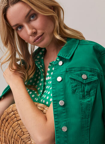 Stretchy Denim Jacket, Green,  spring summer 2020, jacket, long sleeves, buttons, stretchy denim, coloured,