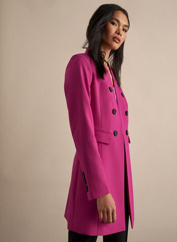 Veste redingote à col cranté , Rose,  veste, redingote, poches, épaulettes, col cranté, printemps été 2020
