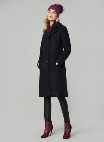 Karl Lagerfeld Paris - Notch Collar Coat, Black,