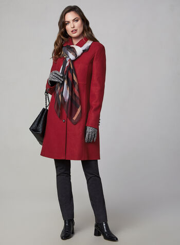 Novelti - Button Down Coat, Red,  Novelti, coat, button down, long sleeves, fall 2019, winter 2019