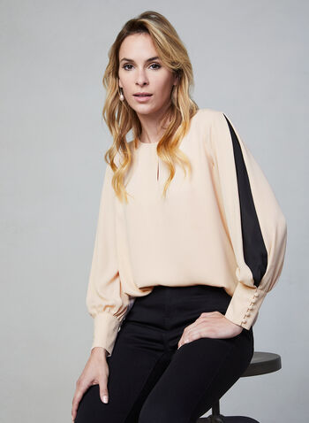 Balloon Sleeve Blouse, Pink,  fall winter 2019, long sleeves, crepe,