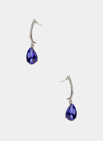 Faceted Crystal Dangle Earrings, Blue, hi-res