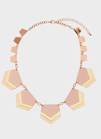 3-Tone Geometric Bib Necklace, Pink, hi-res