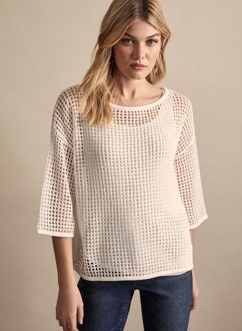 Open Knit Sweater, White,  knit, sweater, open knit, 3/4 sleeves, boat neck, spring summer 2020