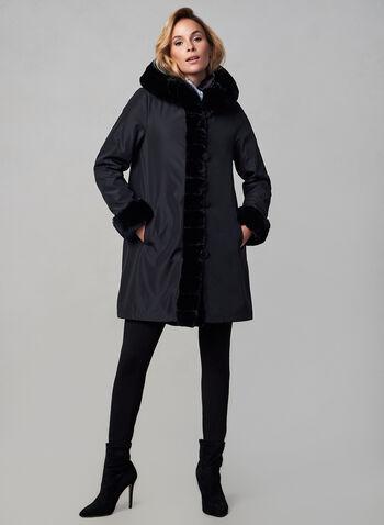 Nuage - Manteau réversible , Noir,  automne 2019, hiver 2019, réversible, capuchon, fausse fourrure, nylon