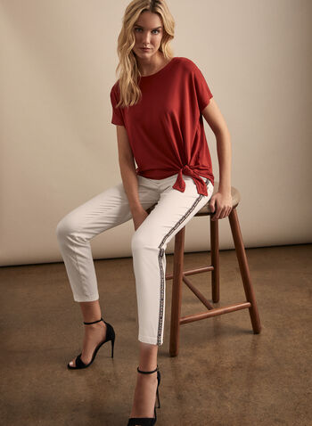Front Tie Top, Red,  top, boat neck,  short sleeves, front tie, spring top, spring 2020, summer 2020