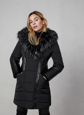 Northside - Quilted Coat With Hood, Black,  weatherproof, faux leather, quilted, faux fur trim, Feather Loft ® lining, inside vest, winter 2019